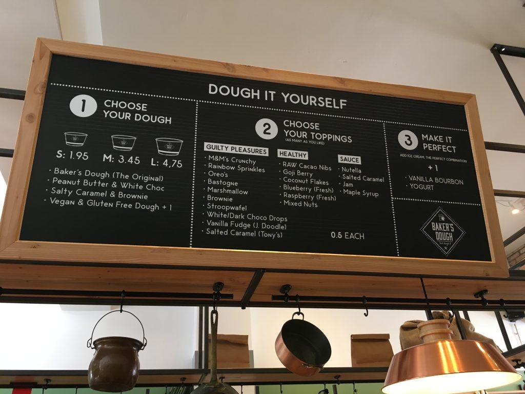 Bakers dough menu